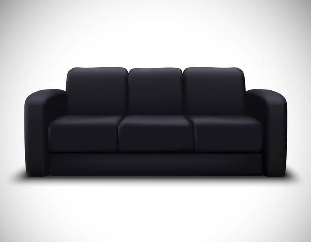 manifesto del sofà di elemento realistico mockup di interni vettore