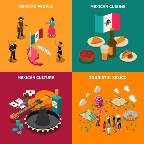 Messico turistico 4 isometrica icone quadrate vettore