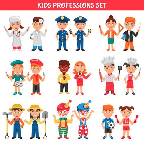 Set di professioni per bambini vettore