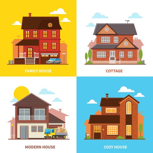 casa di campagna 2x2 concetto di design vettore