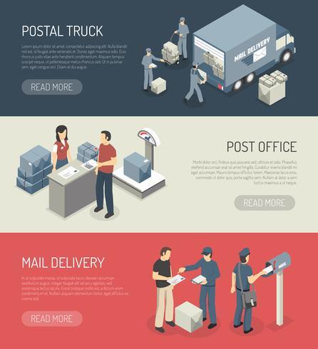 Servizio postale 3 banner isometrici vettore