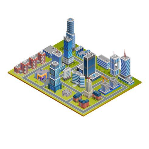 Illustrazione isometrica della città vettore