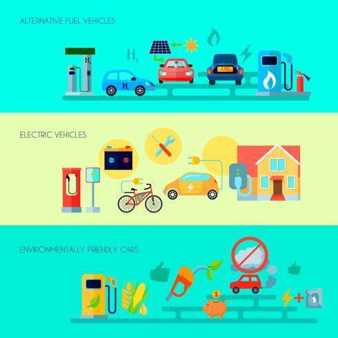 Set di banner di energia alternativa vettore