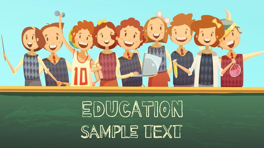Manifesto del fumetto di pubblicità del titolo di istruzione scolastica vettore