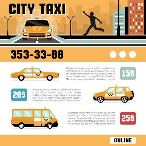 Modello di pagina Web di servizi di taxi di città vettore