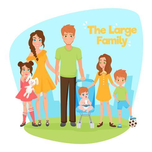 Illustrazione di famiglia numerosa vettore