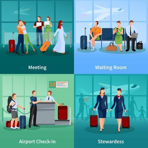 persone di aeroporto piatto concetto di design 2x2 vettore