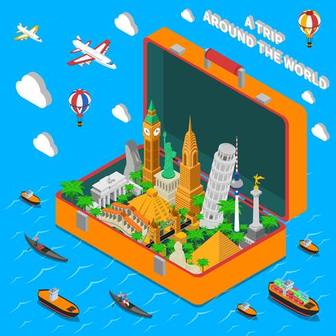 Punti di riferimento del mondo in valigia Poster isometrica vettore