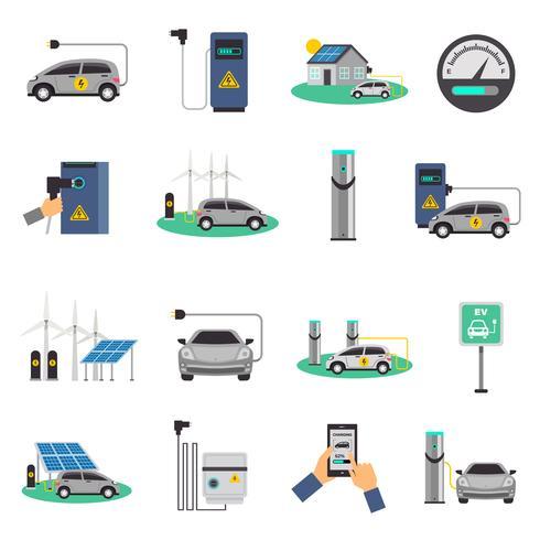 Set di icone piane di ricarica per auto elettrica vettore