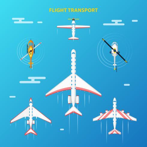 Set di elementi aeroporto di trasporto aereo vettore