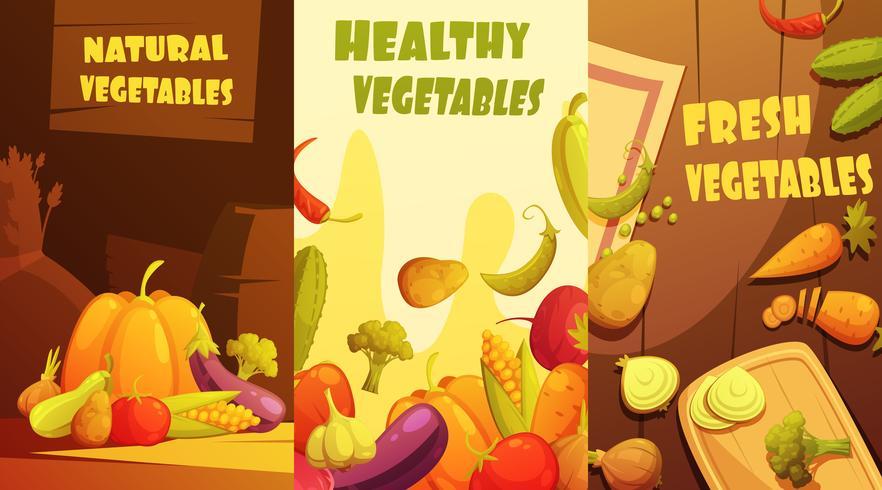 Poster di verdure organiche bandiere verticali del fumetto vettore