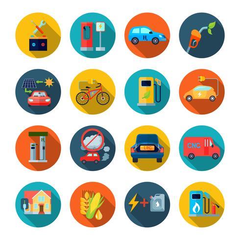 Set di icone rotonde di energia alternativa vettore