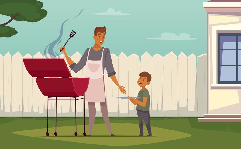 Picnic Barbecue Padre Figlio Cartoon Poster vettore