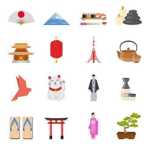 Set di icone piane di simboli nazionali giapponesi vettore