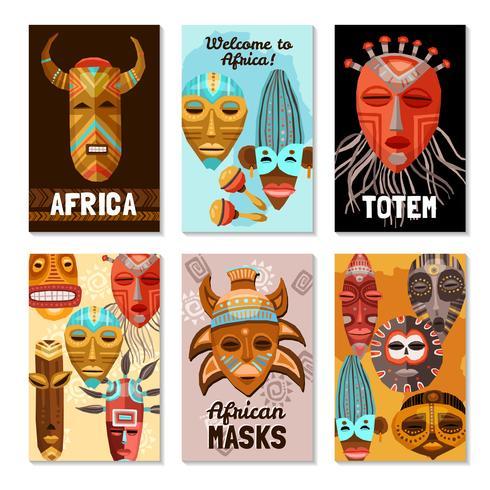 Carte di maschere tribali etnici africani vettore