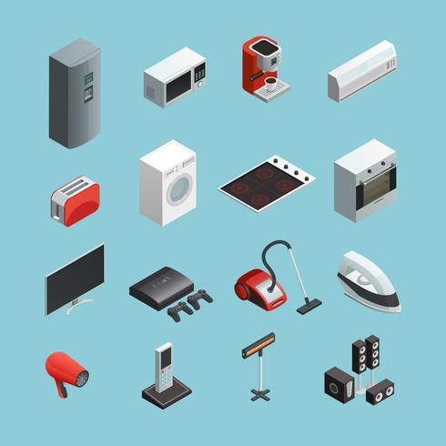Set di icone isometriche di elettrodomestici vettore
