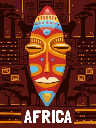 Modello di maschera etnica tribale vettore