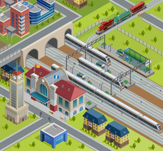 Manifesto isometrico della stazione ferroviaria del treno vettore