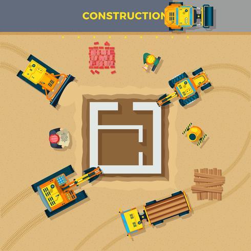 Illustrazione di vista superiore di processo di costruzione vettore
