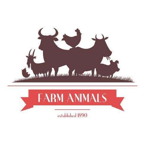 Etichetta di animali da fattoria o design di insegne vettore