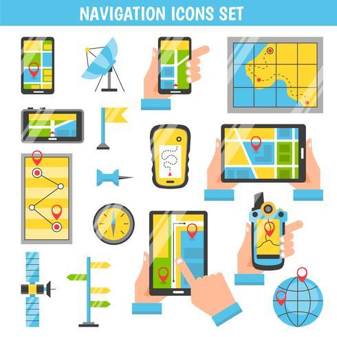 Icone decorative di colore piatto di navigazione vettore