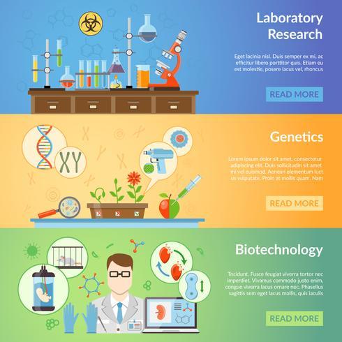 Bandiere orizzontali di biotecnologia e genetica vettore