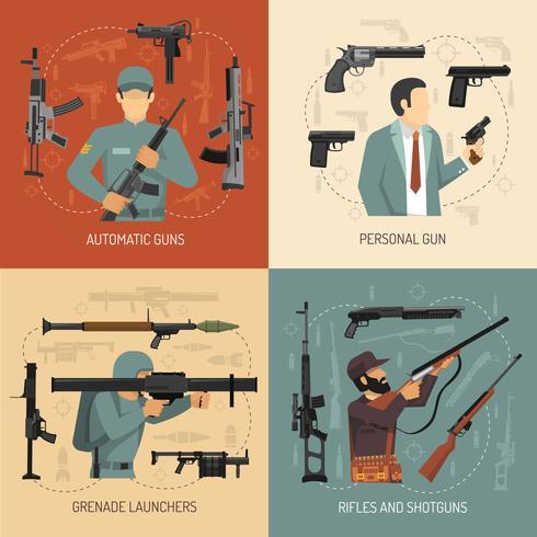 Armi Pistole 2x2 Design Concept vettore