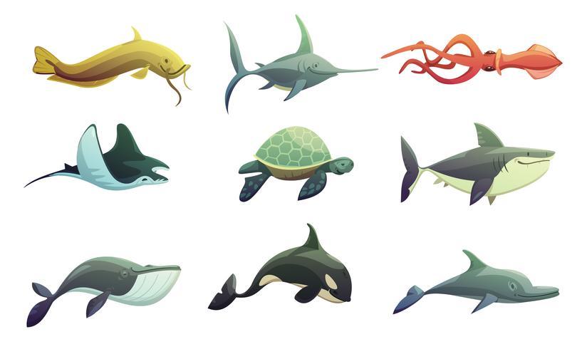 Insieme del fumetto di pesci e animali marini vettore