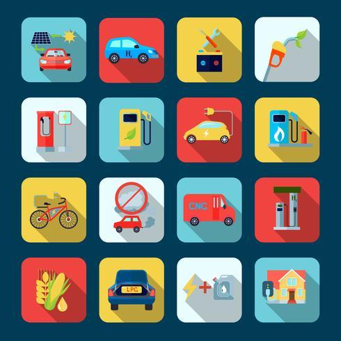Set di icone quadrate di energia alternativa vettore