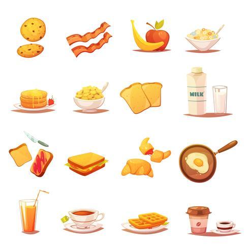 Set di icone retrò elementi classici colazione vettore