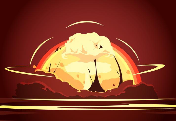 Manifesto retrò dei cartoni animati di esplosione di bomba nucleare vettore