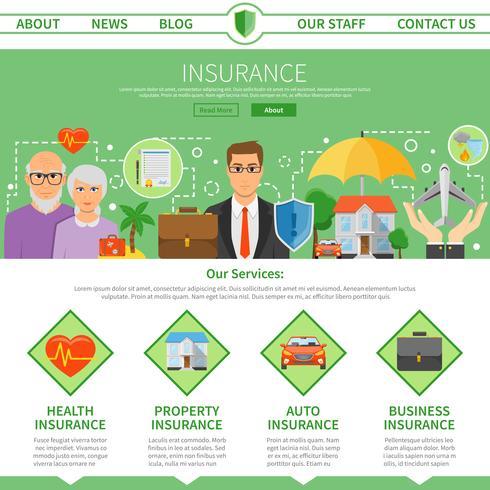 Compagnia di assicurazioni One Page Flat Design vettore