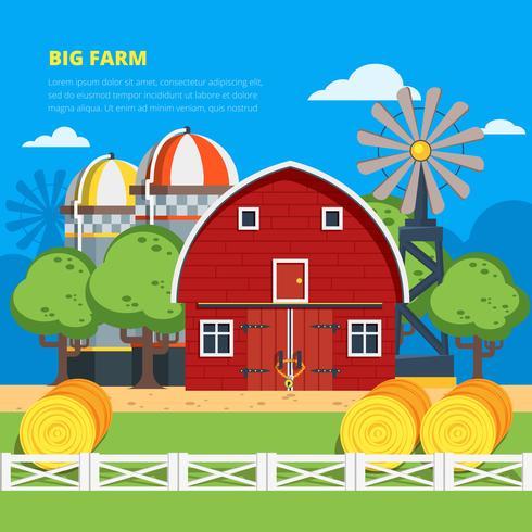 Composizione piatta Big Farm vettore