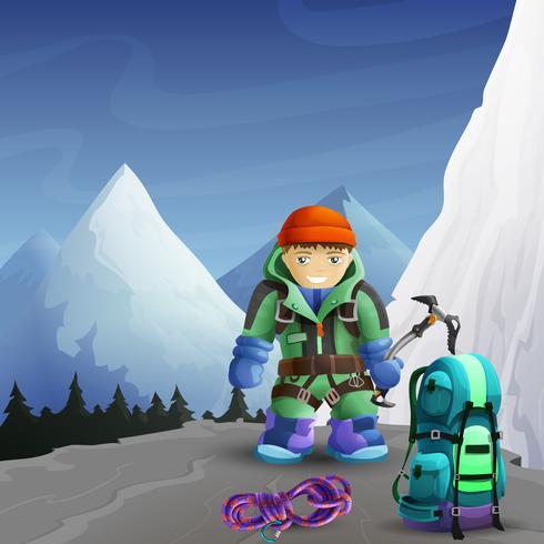 Manifesto del fondo del personaggio dei cartoni animati dello scalatore di montagna vettore