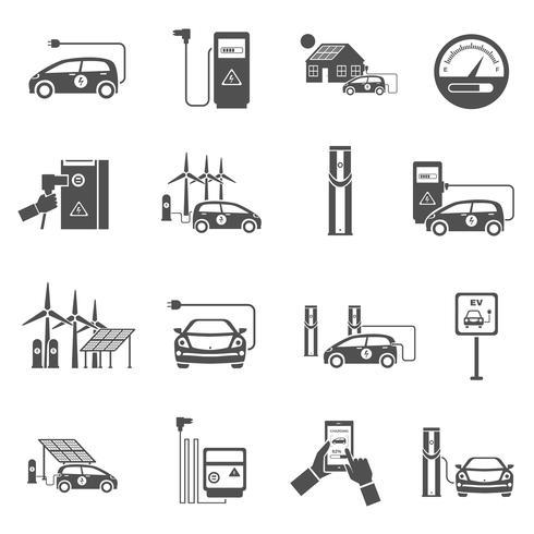 Set di icone nere di ricarica per auto elettrica vettore