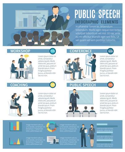 Poster piatto di elementi di infografica parlare pubblico vettore