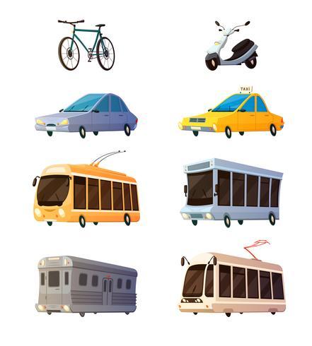 Icone piane del fumetto di trasporto della città vettore