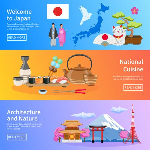 Set di bandiere piatte di punti di riferimento cultura giapponese vettore