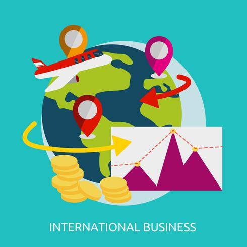 Progettazione concettuale dell'illustrazione di affari internazionali vettore
