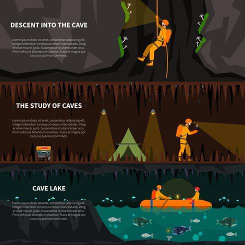 speleiologi in grotte bandiere piatte impostate vettore