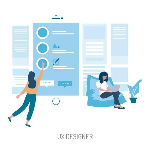 Progettazione concettuale dell'illustrazione del progettista di UX vettore