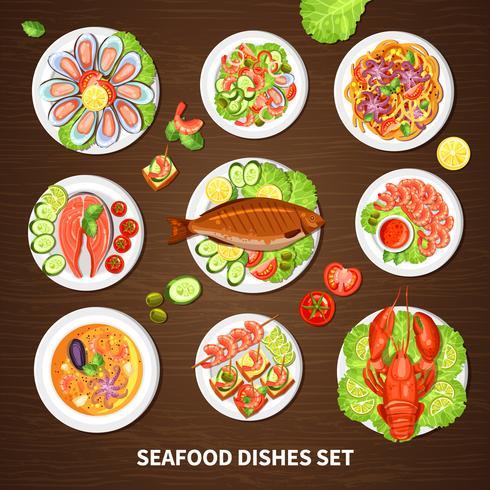Poster con set di piatti di pesce vettore