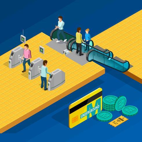 Metro Isometric Design Concept vettore
