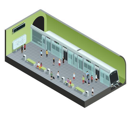 Illustrazione isometrica della stazione della metropolitana vettore