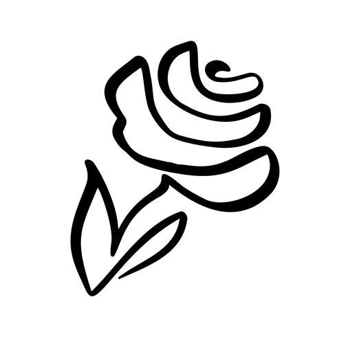 Concetto di fiore rosa Mano di linea continua disegno logo vettoriale calligrafico. Elemento di design floreale primaverile scandinavo in stile minimal. bianco e nero