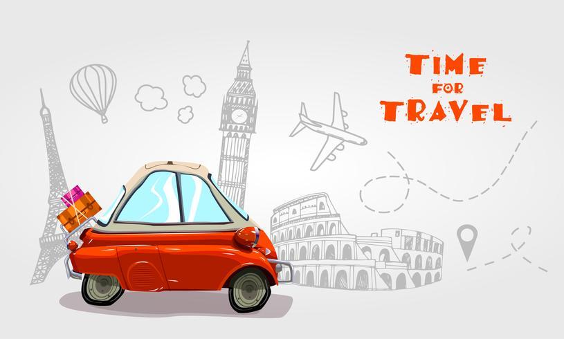 Viaggio su strada. Elementi di vacanza Tempo di viaggio. vettore