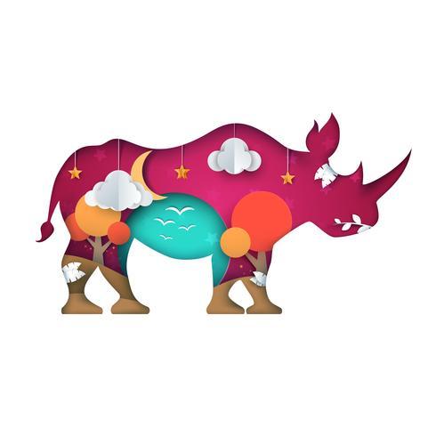 Rinoceronte di carta cartone animato. Paesaggio del cielo vettore