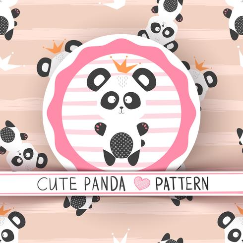 Carino panda principessa - seamless vettore