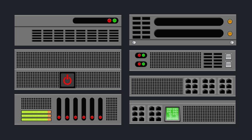 Set di server del computer vettore