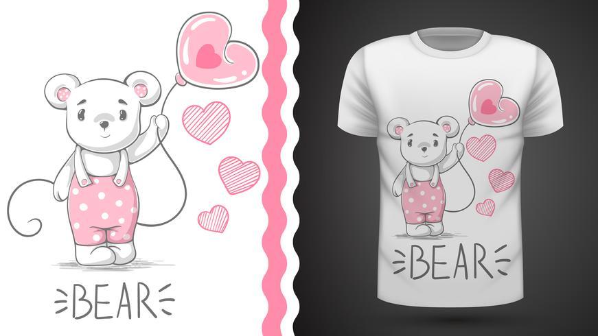 Simpatico orso - idea per t-shirt stampata. vettore